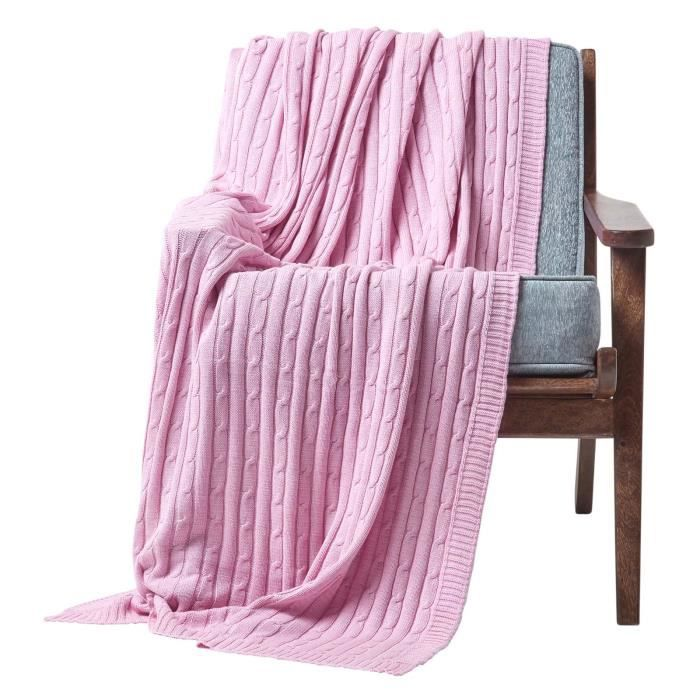 jet de canap rose pastel 130 x 170 cm achat vente jet e de lit boutis les soldes sur. Black Bedroom Furniture Sets. Home Design Ideas