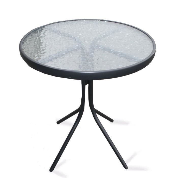Table ronde en acier plateau verre trempé - Achat / Vente ...