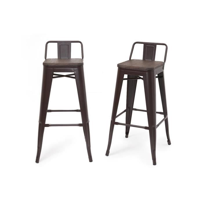 tabouret de bar industriel effet rouille lot de 2 usino achat vente tabouret de bar cdiscount. Black Bedroom Furniture Sets. Home Design Ideas