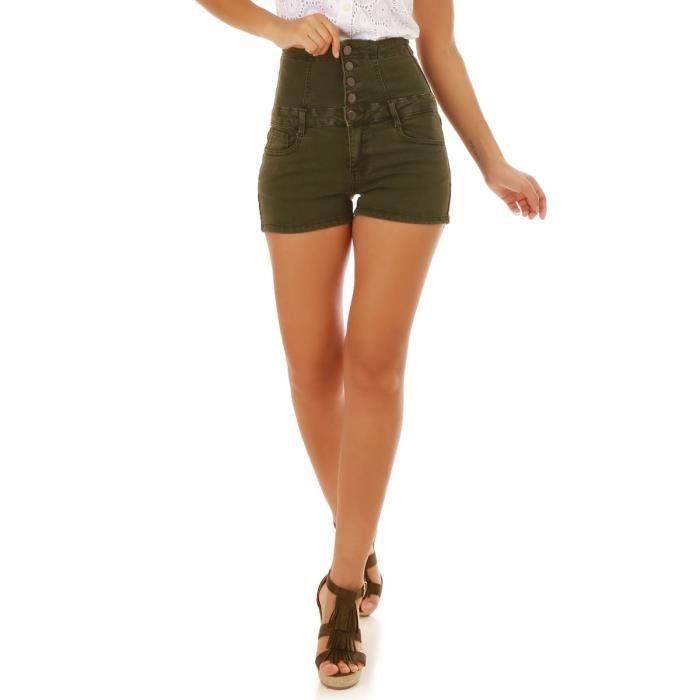 Short taille haute en jean kaki-XS Vert -