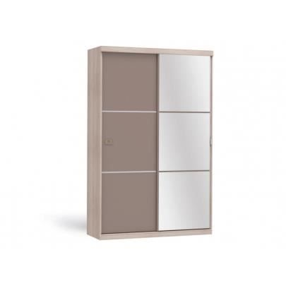 armoire avec miroir peggy 2 portes coulissantes taupe achat vente armoire de. Black Bedroom Furniture Sets. Home Design Ideas