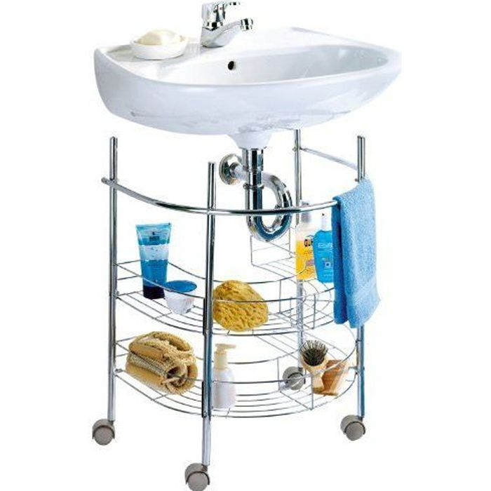 Wenko 7385100 Etag Re Sous Lavabo Chrome Achat Vente Meuble Vasque Plan Etag Re
