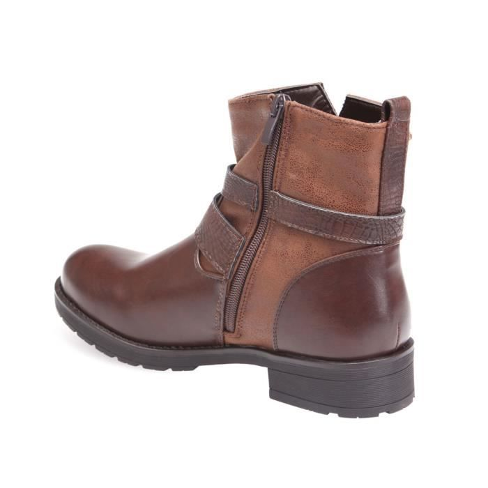 À Détails 36 Marron Croco Bottines xfq5Spn