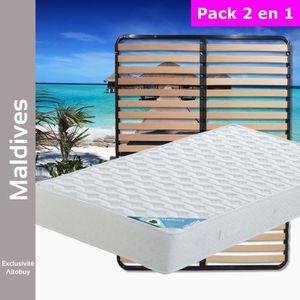 ENSEMBLE LITERIE Maldives - Pack Matelas + Lattes 160x200