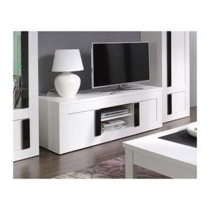 Meuble tv déco ALPENS. Coloris blanc cérusé + noir brillant ...