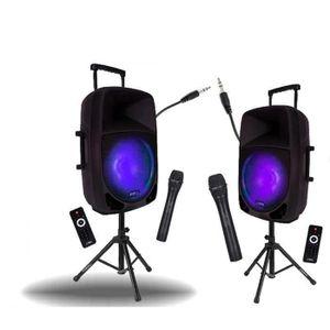 PACK SONO 2 ENCEINTES SONO 2x700W PORTABLE avec BATTERIE 2 M