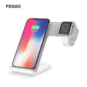 CHARGEUR TÉLÉPHONE FDGAO 2 en 1 chargeur rapide sans fil Qi avec adap