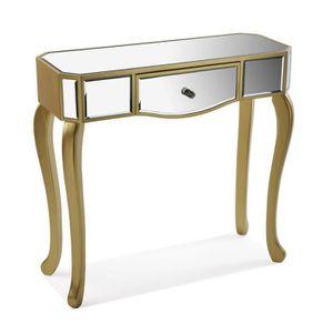 CONSOLE EXTENSIBLE Console marron avec un tiroir miroir - L 80 x l 30