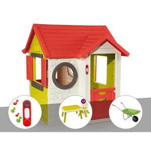 MAISONNETTE EXTÉRIEURE Cabane enfant My House - Smoby + Sonnette + Table