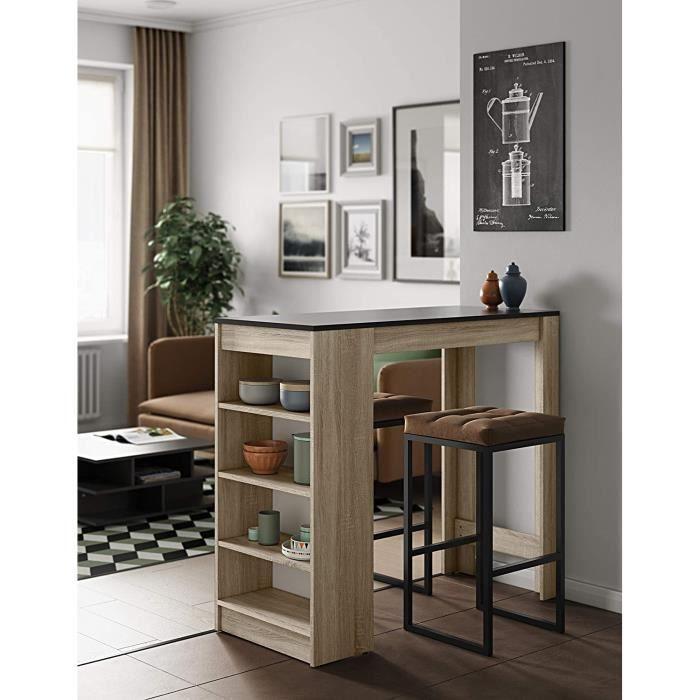 Table Bar Avec Rangements, Plateau en MDF, Panneaux de Particules Mélaminés, décor Noir + Chene