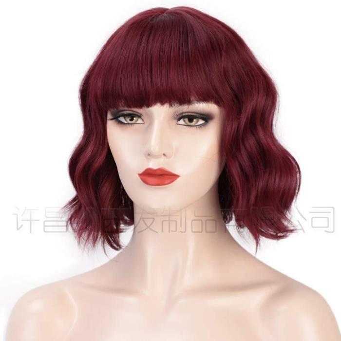 Perruque de beauté européenne courte grosse vague frange perruque fibre chimique coiffure en soie à haute température