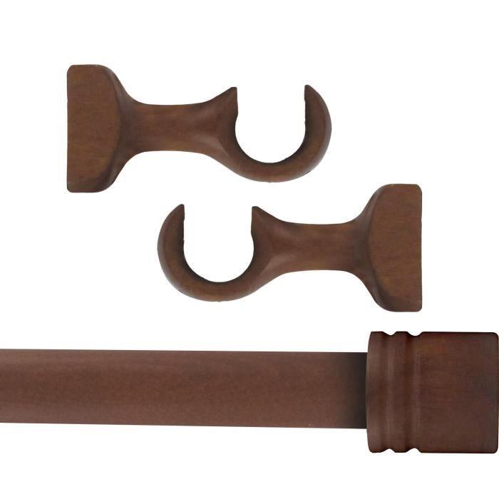 Tringle à rideaux Kit complet bois, diamètre Ø 28 mm, Longueur 1.80 m, Embout Bouchon chêne, de MadeInNature®