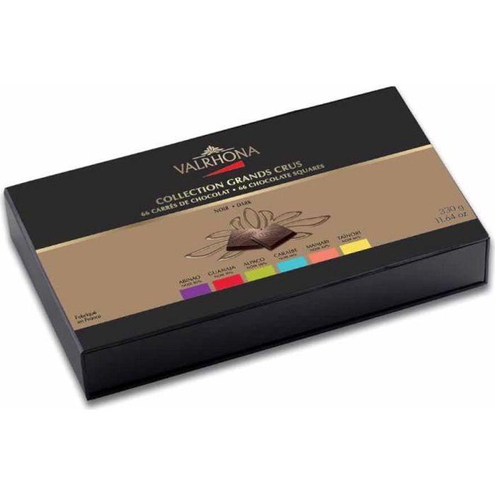 Valrhona - Coffret Collection 6 Grands Crus de chocolat noir - 66 carrés