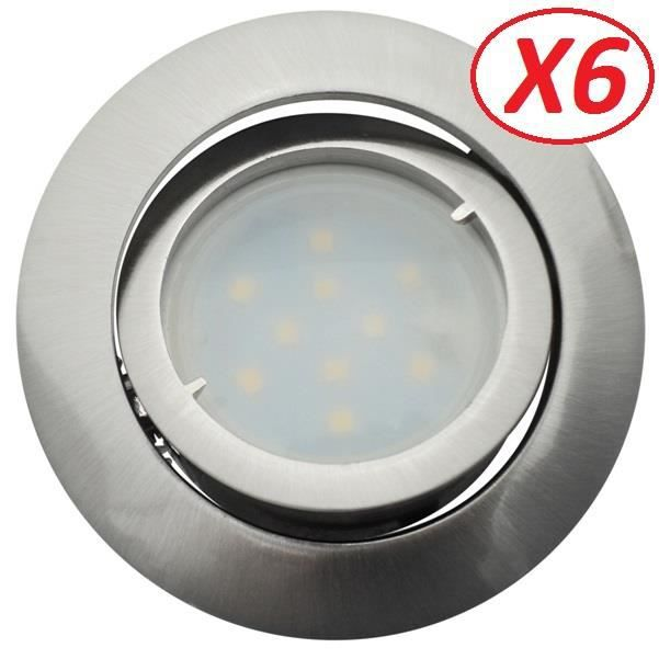Lot de 6 Spot Led Encastrable Complete Satin Orientable lumière Blanc Neutre eq. 50W ref.895