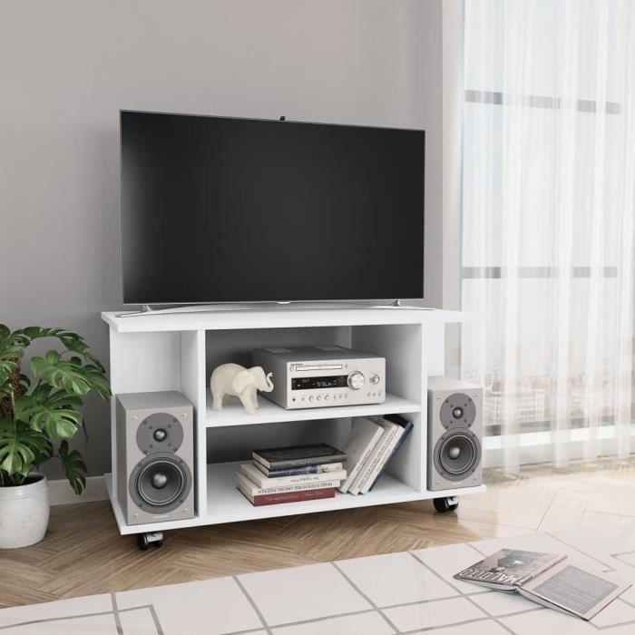 •Ergonomique3349Meuble TV Meuble HIFI Moderne avec roulettes Blanc Meuble TV avec roulettes Blanc 80 x 40 x 40 cm Aggloméré