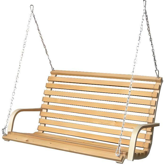 banc pour Balancelle de porche - en bois de mélèze - pour 2 personnes - incl chaînes et crochets robustes - pour l´intérieur de l...