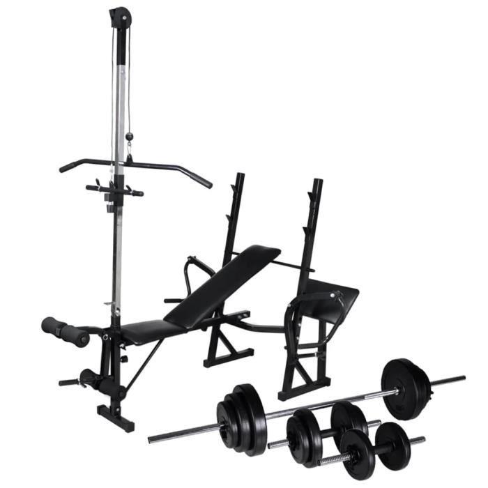 Banc de Musculation Multifonction Professionnel avec support - Set haltères 30,5 kg - Station Fitness d'entraînement Hauteur Réglage