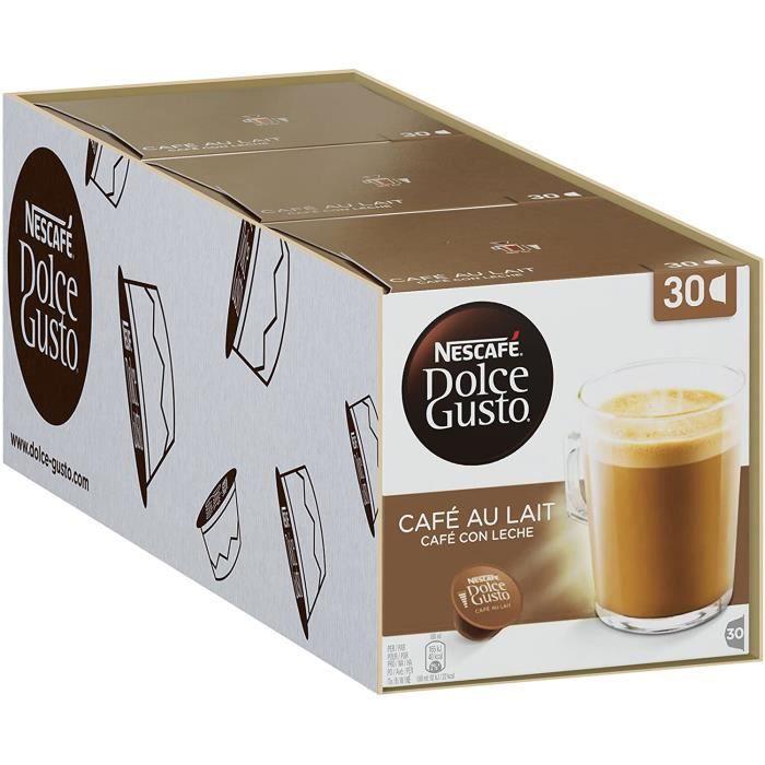 Nescafé Dolce Gusto Café au Lait, Latte, boissons chaudes, 3 x 30 capsules