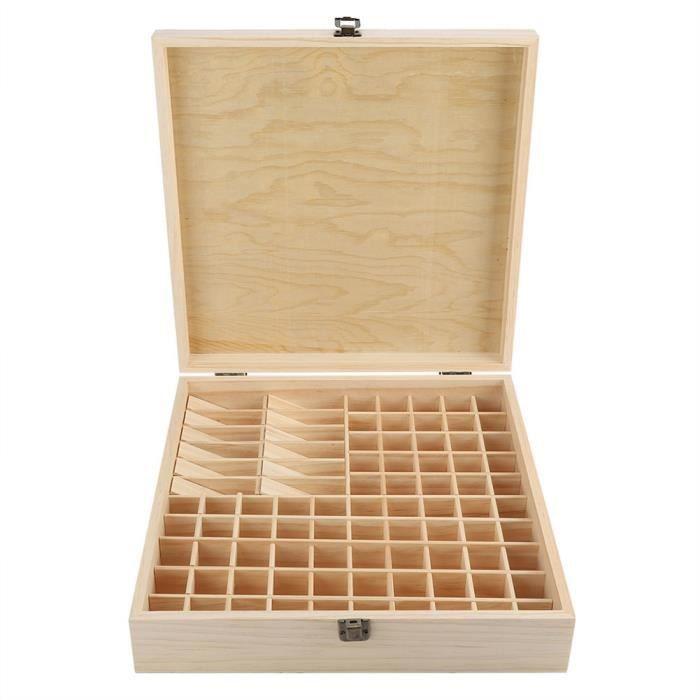 Boîte d'Huile Essentielle Organisateur Rangement en Bois 35.5 x 35.5 x 9.2cm HB042