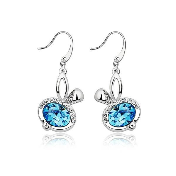 Boucles d'oreilles Lapin en Cristal Bleu de Swarovski Elements et Plaqué Rhodium