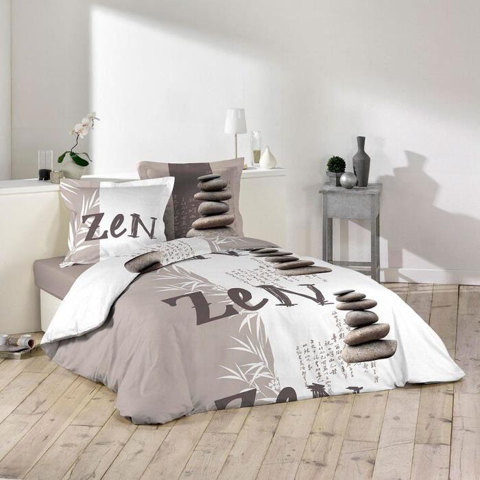 Housse de couette - 220 x 240 cm + taies - Galets zen