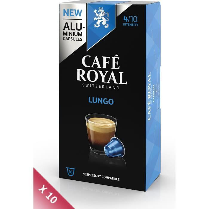 Lot de 10 CAFE ROYAL compatible Nespresso Alu Lungo x10