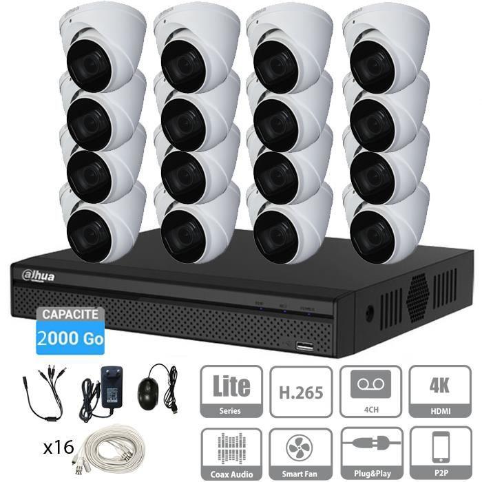 Kit vidéosurveillance 2To 16 caméras avec micro dômes 5 Mpx