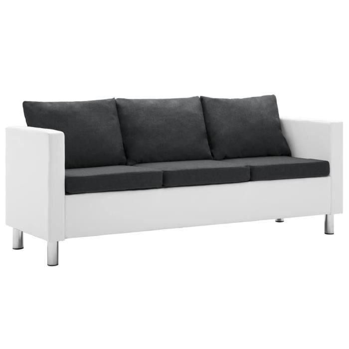 Canapé à 3 places Faux cuir Blanc et gris foncé