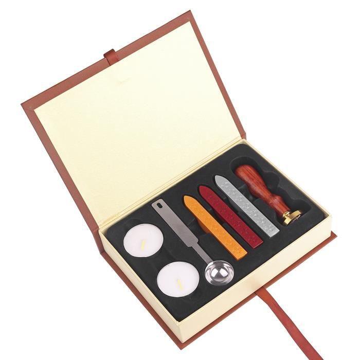 Kit Boîte Sceau À Sceller + Bâton De Cire + Bougie Cachet Tampon Wax Seal Stamp