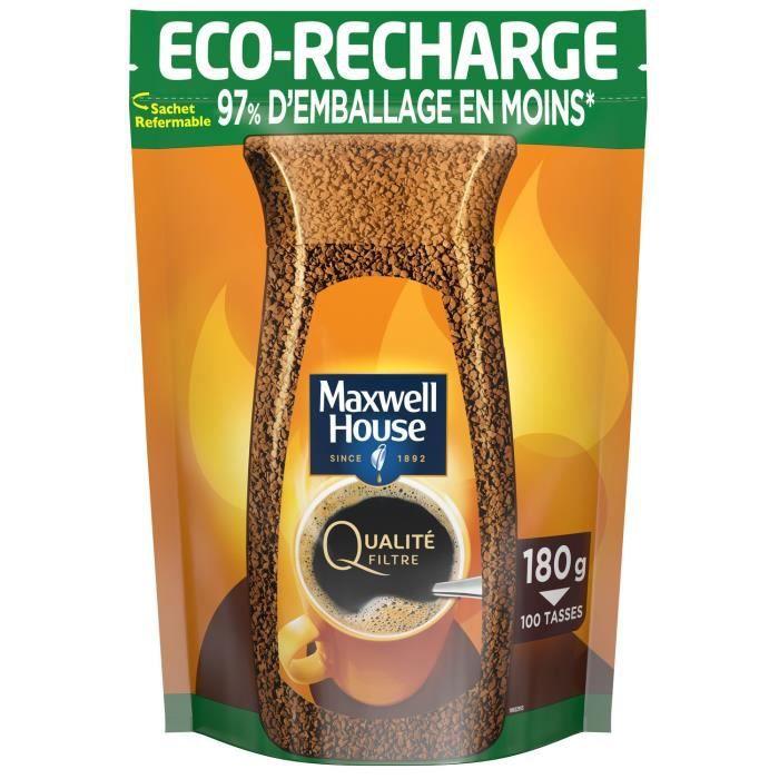 MAXWELL HOUSE Café soluble Eco-recharge Qualité Filtre 100 tasses - 180 g