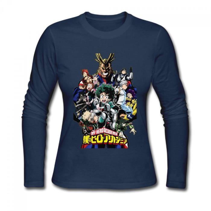 My Hero Academia Logo T-shirt à manches longues en coton pour Femme