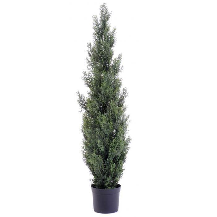 Plante artificielle haute gamme Spécial extérieur - Cyprès Artificiel Mini Vert - Dim : 125 x 25 cm