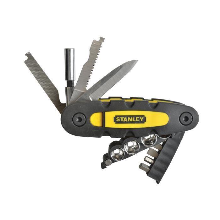Stanley STHT0-70695 Couteau multifonction 14 en 1 avec Porte-embouts, Jaune/noir