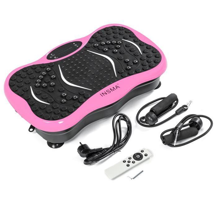 INSMA Plateforme vibrante oscillante Fitness Plaque de vibration 1-299 Vitesse avec Résistance bande Télécommande Bluetooth ROSE