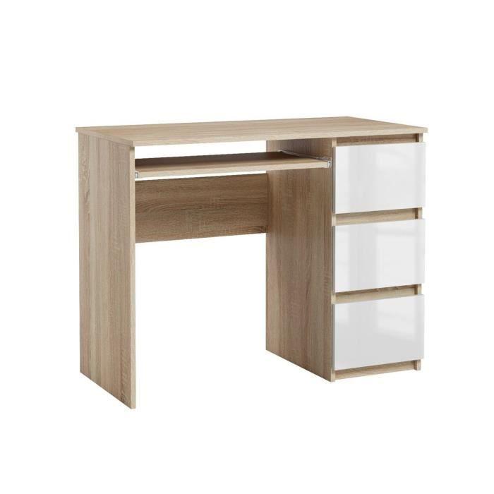 Bureau d'ordinateur. Bureau très élégant avec des tiroirs. Bureau informatique HEINI sonoma-blanc