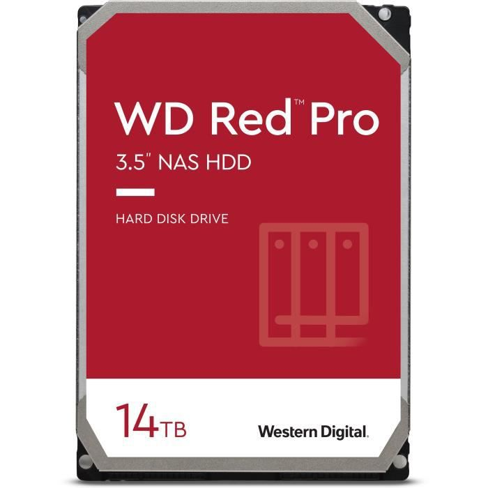 WD Red™ Pro - Disque dur Interne NAS - 14To - 7200 tr/min - 3.5- (WD141KFGX)