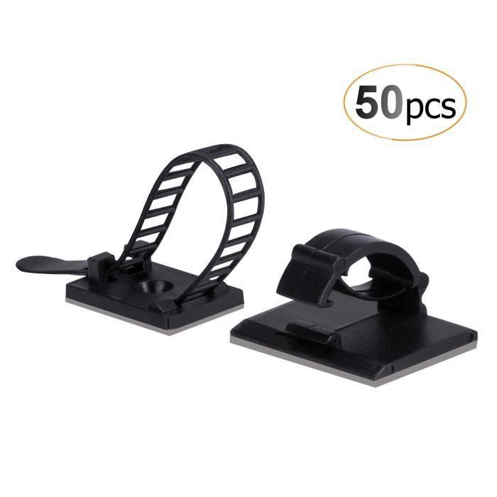 Attaches en plastique blanc pour c/âble /électrique avec c/âble t/él/éphone t/él/évision par Internet 50 pi/èces 10 mm c/âble clips