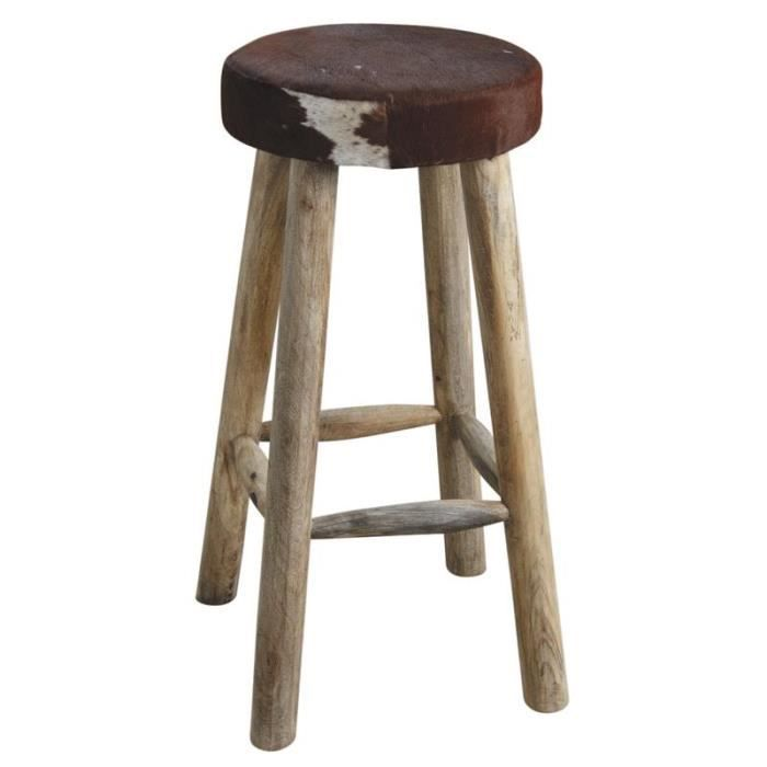 tabouret de bar en peau de vache et bois achat vente tabouret de bar cdiscount. Black Bedroom Furniture Sets. Home Design Ideas