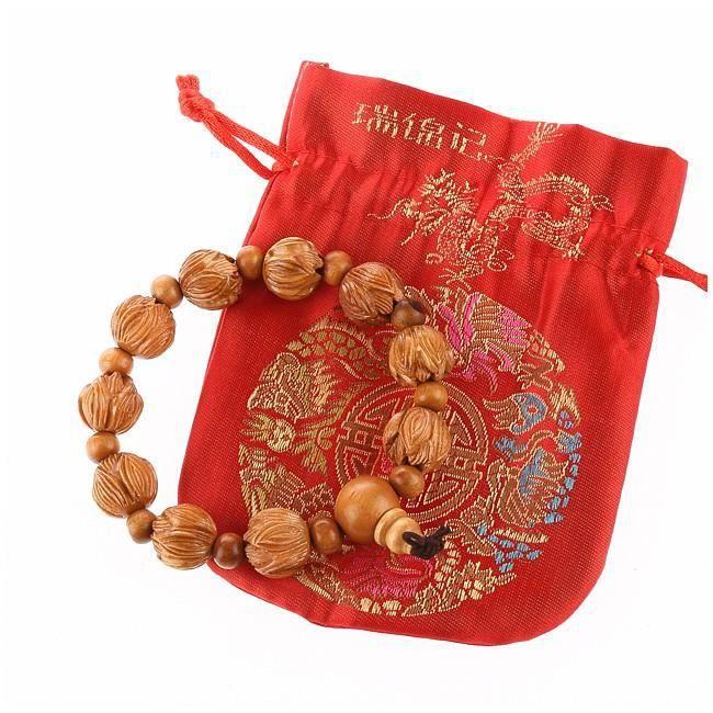 lachineuse Bracelet Bouddhiste Lotus Perles Rondes Cinabre