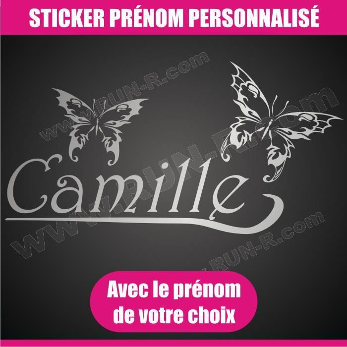 sticker mural prenom fille papillon 30 cm argent achat vente stickers cdiscount. Black Bedroom Furniture Sets. Home Design Ideas