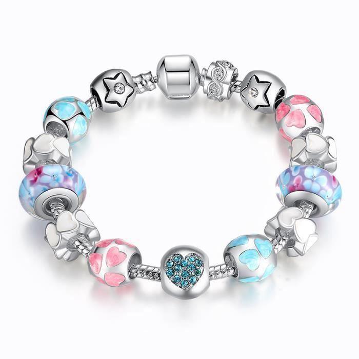 SMRT BAMOER Bracelet charms style pour pandora Enfant Bleu Verre ...