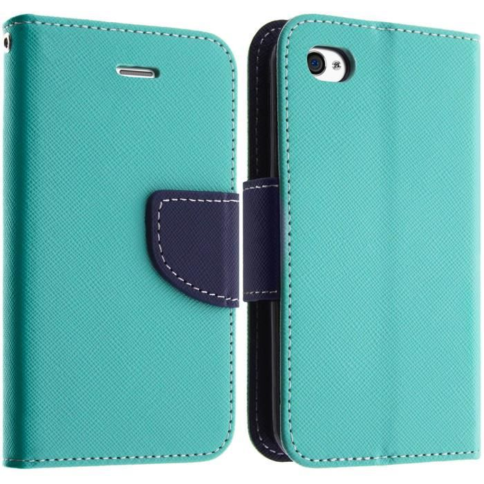 Housse etui clapet apple iphone 4 4s turquoise achat for Etui housse iphone 4