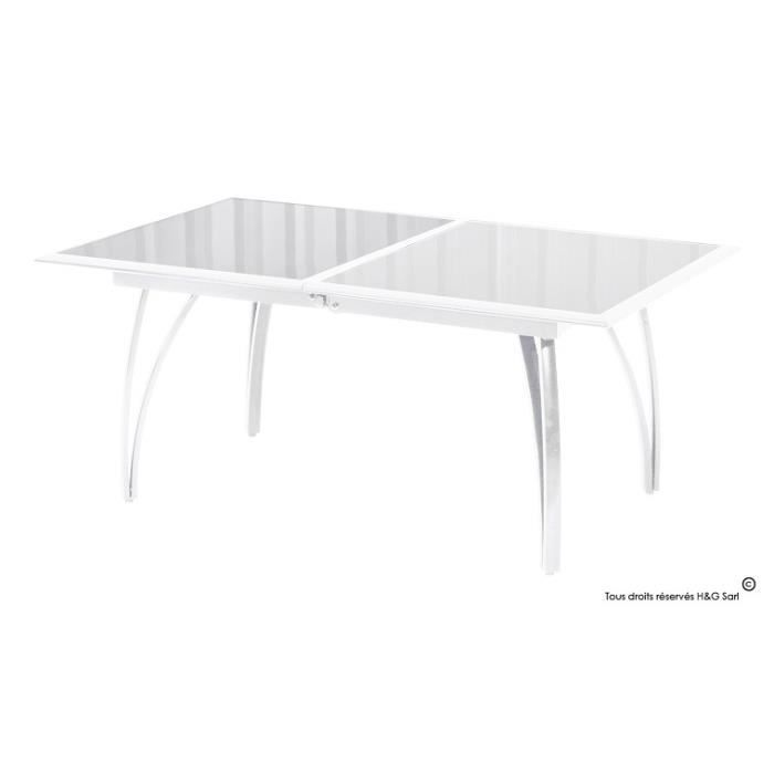table de jardin en aluminium blanc avec rallonge achat. Black Bedroom Furniture Sets. Home Design Ideas