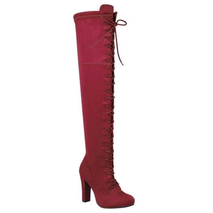 Lace-up Long Comfy Suede Block Style Over The Knee High Chunky Heel Long Boots KWVIB Taille-39