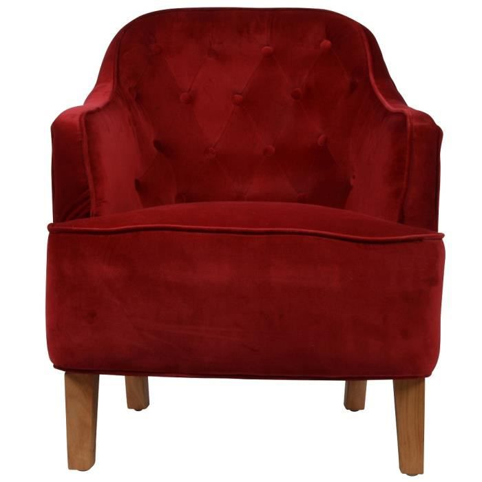 fauteuil crapaud capitonn velours rouge walter achat vente fauteuil rouge cdiscount. Black Bedroom Furniture Sets. Home Design Ideas