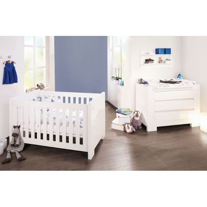 Lit b b volutif et commode langer sky blanc achat for Lit et commode adulte