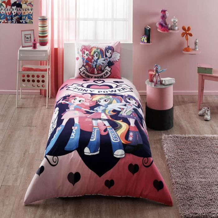 equestria girls imprim e 100 coton enfant parure de couette 3pi ces housse de couette 160x220. Black Bedroom Furniture Sets. Home Design Ideas