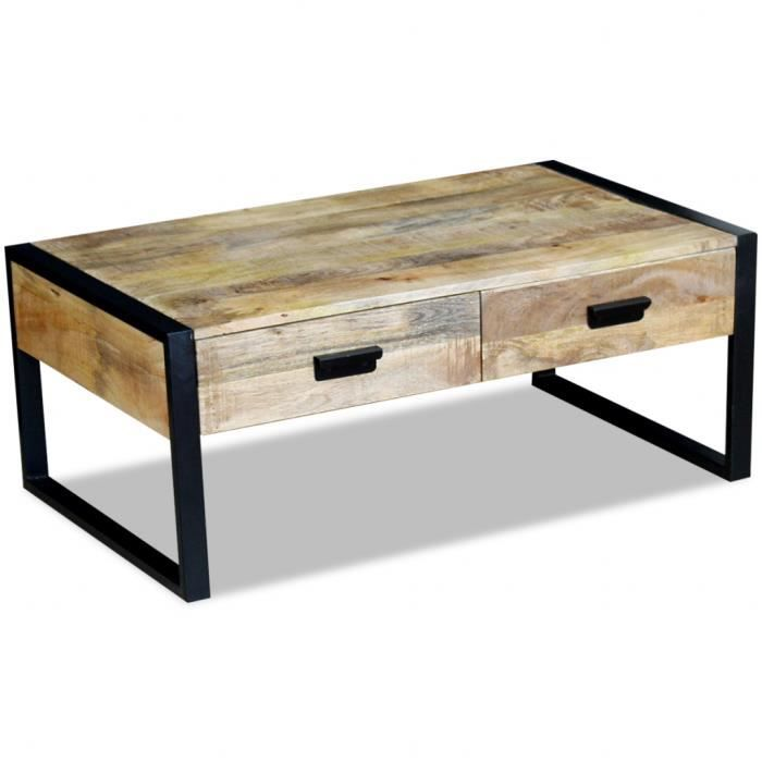 vidaxl table basse avec 2 tiroirs bois de manguier massif 100 x 60 40 cm achat vente table. Black Bedroom Furniture Sets. Home Design Ideas