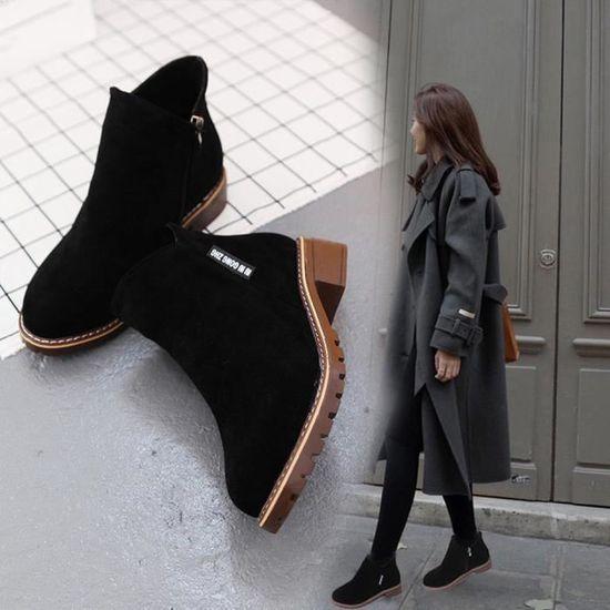 EOZY Bottillons Femme Fille Bottines Noir Bottes Basses Mode