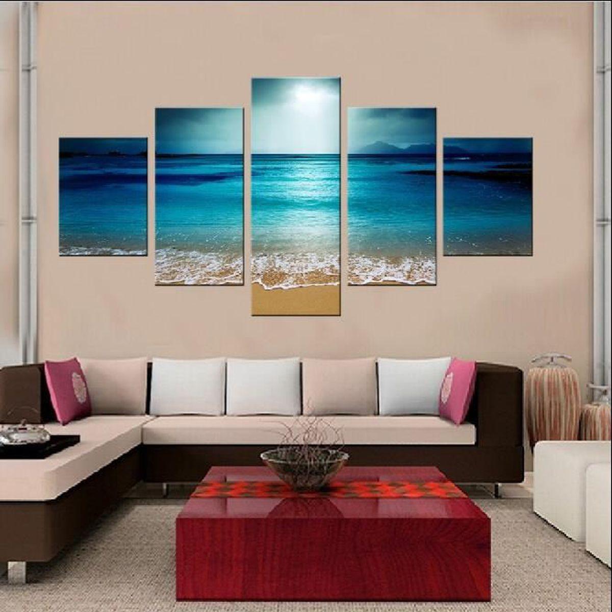 5 Pieces Vente Chaude Peinture Moderne Blue Sea Wall Art Image Decoration Peinture Bon Marche A Vendre Belle Peinture De Paysage Achat Vente Toile 5 Pieces Vente Chaude Cdiscount